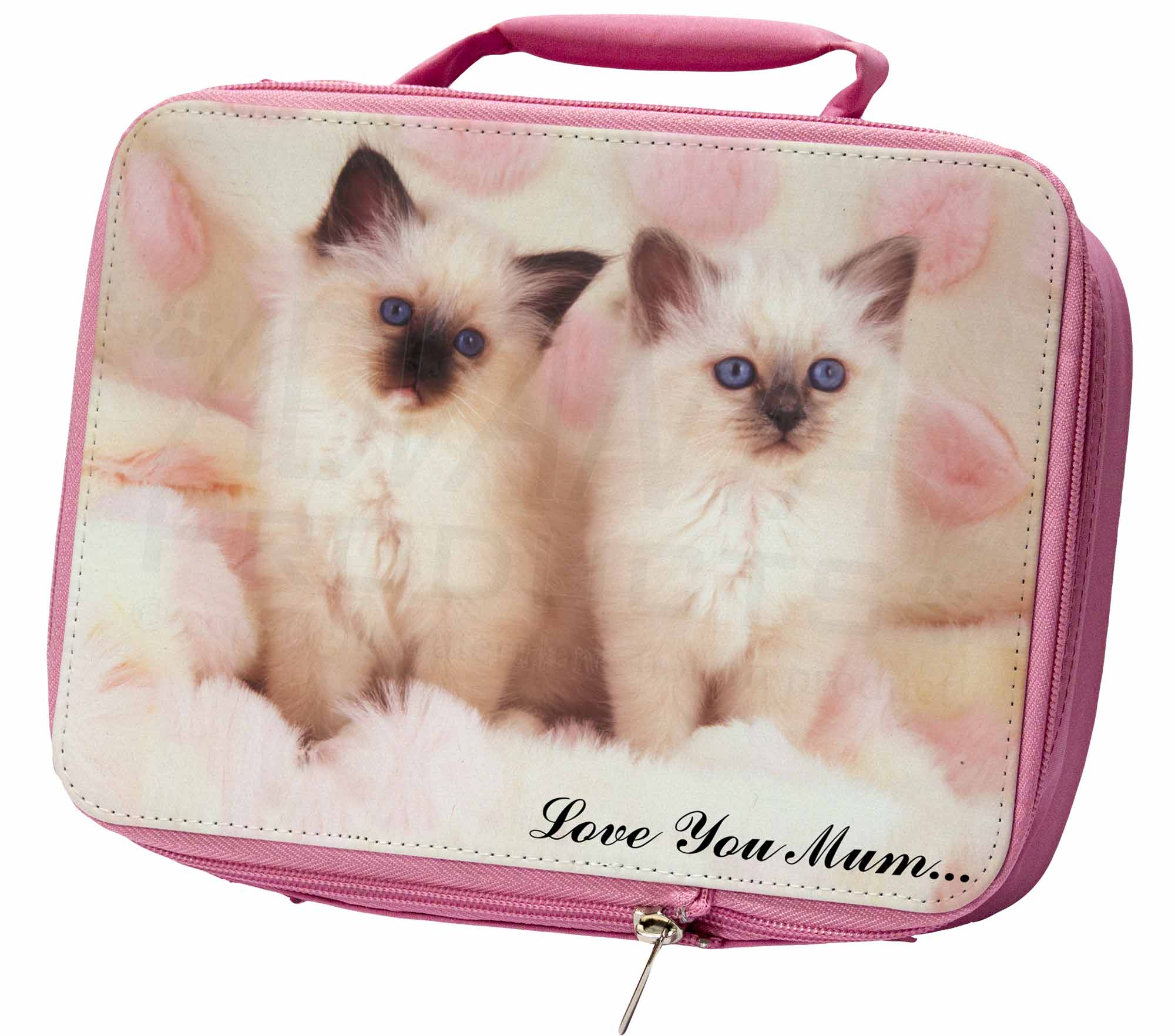 Birman Kittens Cat 'Love You Mum' Insulated Pink Lunch Box, AC-21lymLBP