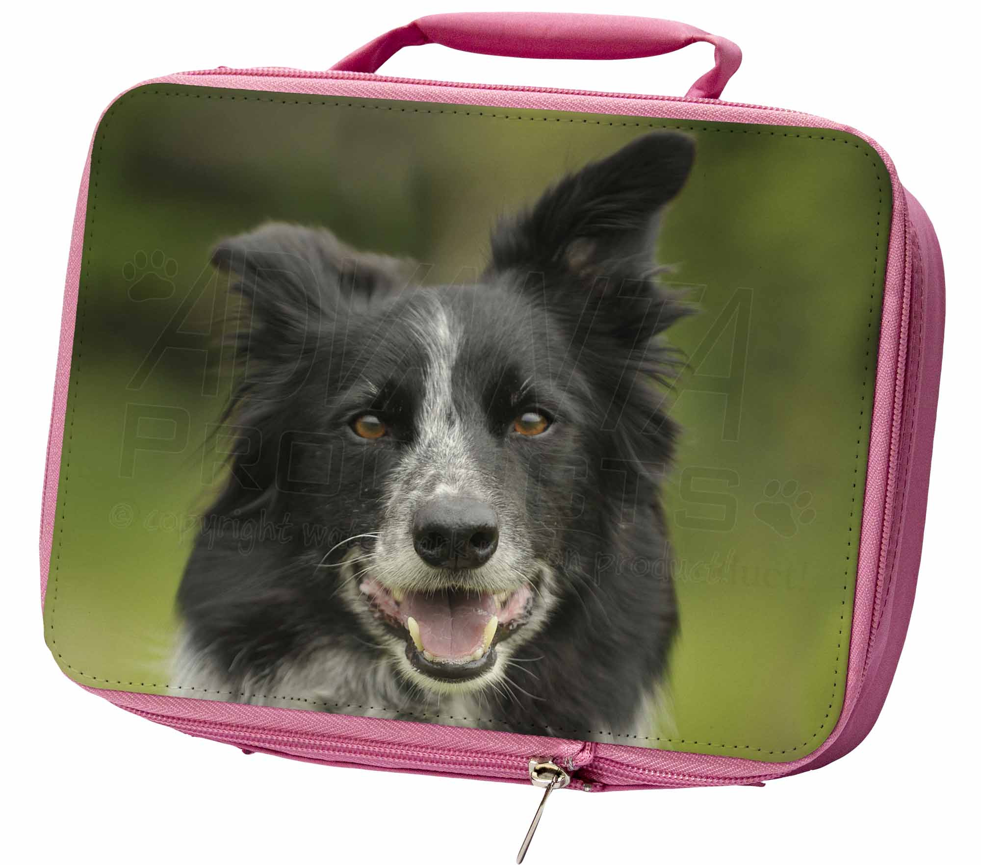 Border Collie Dog Insulated Pink Lunch Box, AD-BC11LBP