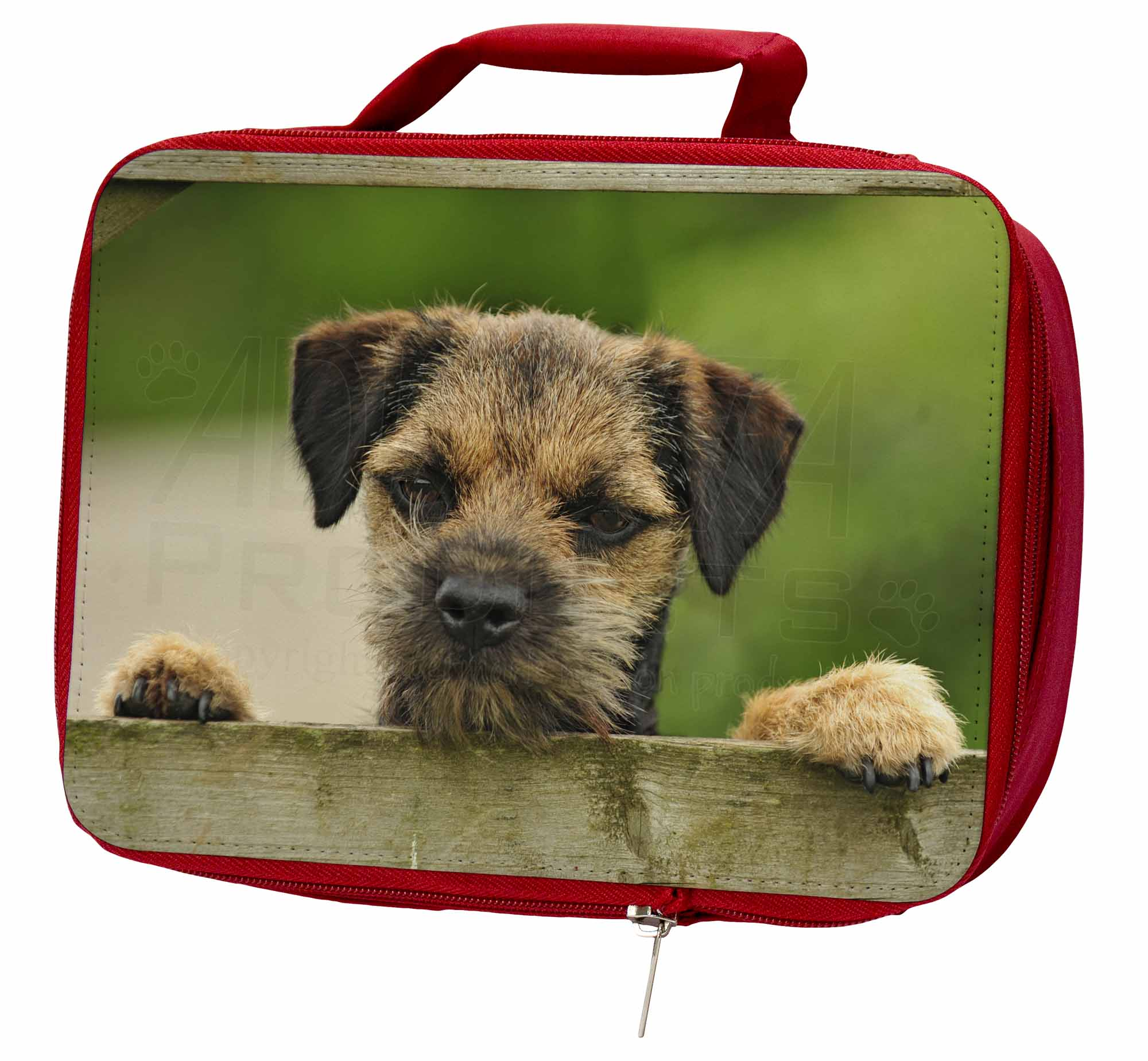 AD-BT5LBR Border Terrier Puppy Dog Insulated Red School Lunch Box//Picnic Bag