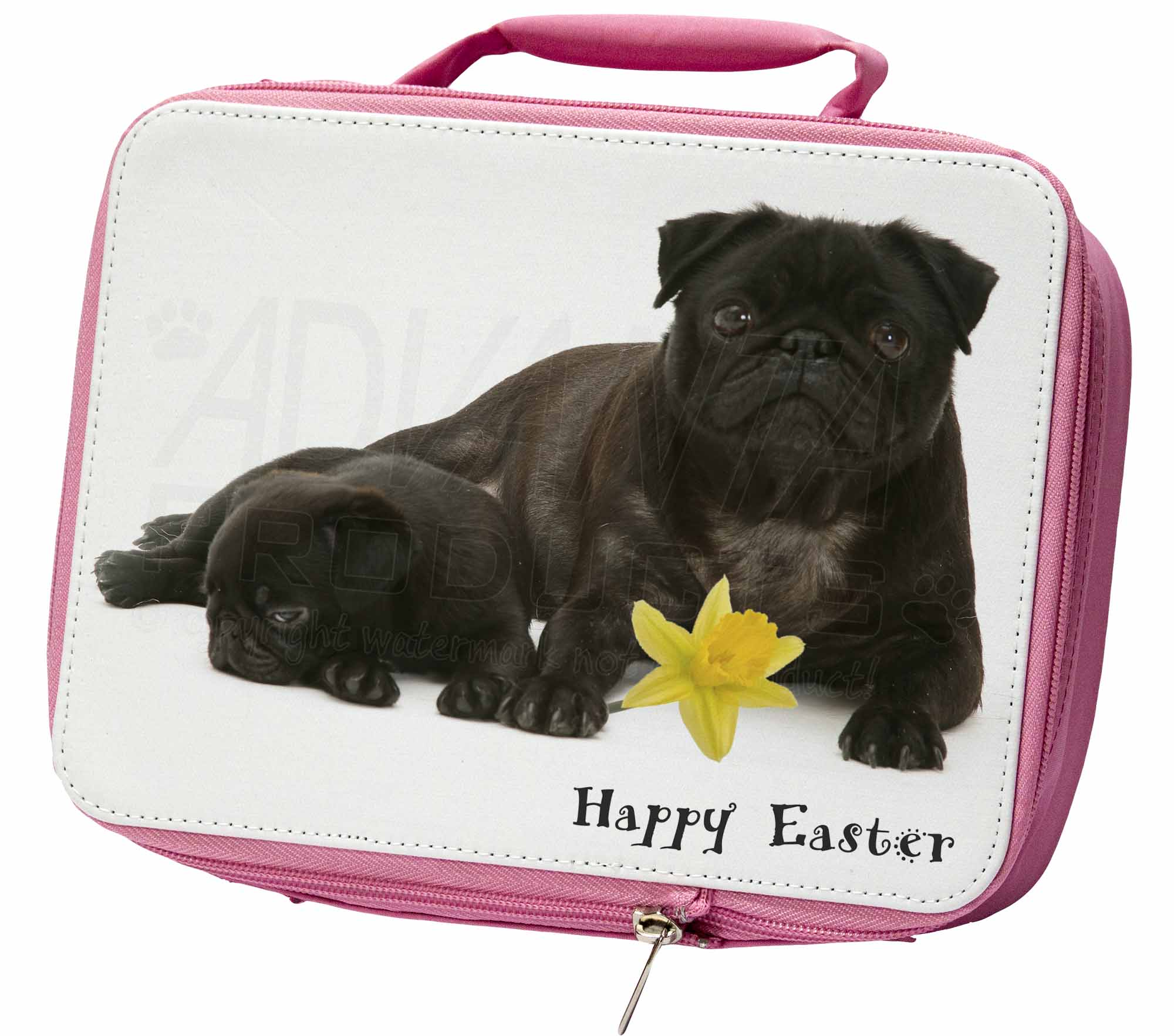 'Happy Easter' Black Pug Dogs Insulated Pink Lunch Box, AD-P91DA1LBP