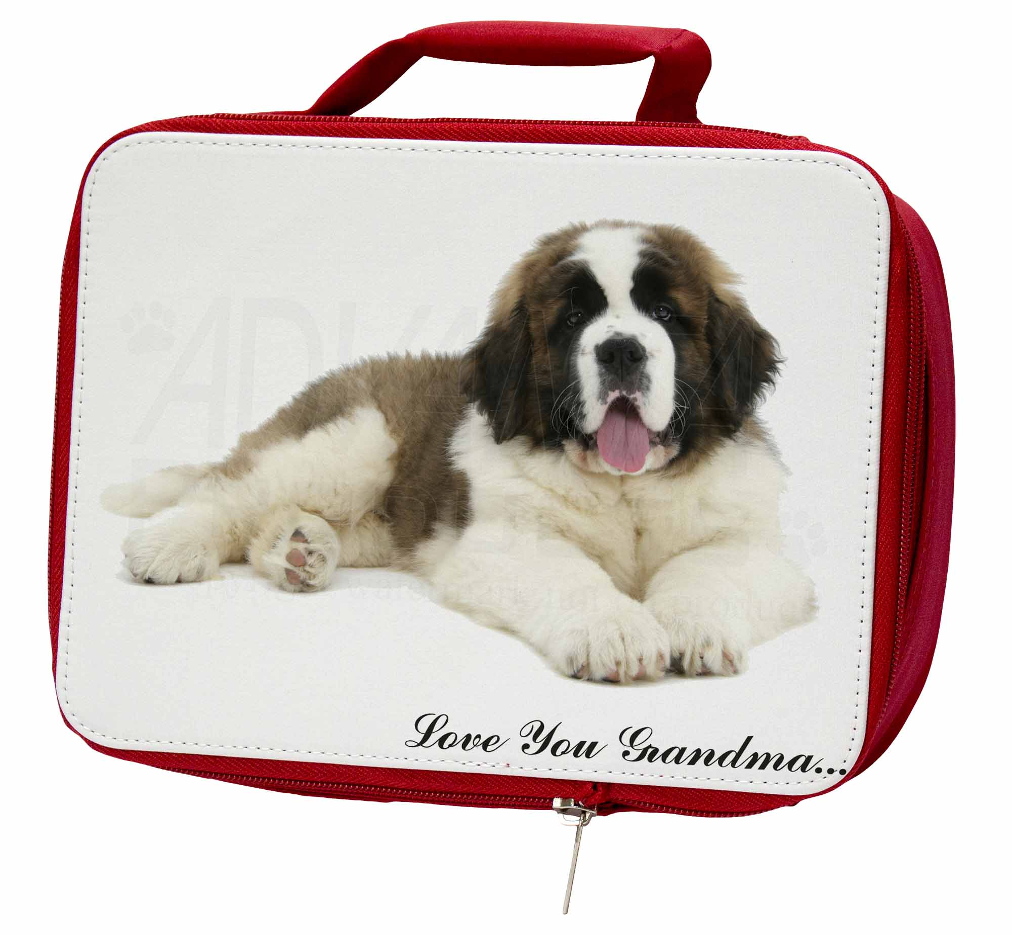 St. Bernard Dog 'Love You Grandma' Insulated Red School Lunch Box, AD-SBE5lygLBR