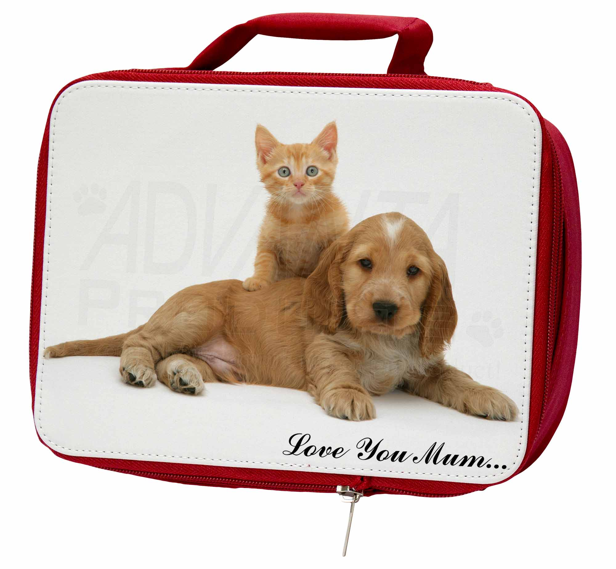 Puppy and Kitten 'Love You Mum' Insulated Red School Lunch Box/Pi, AD-SC14lymLBR