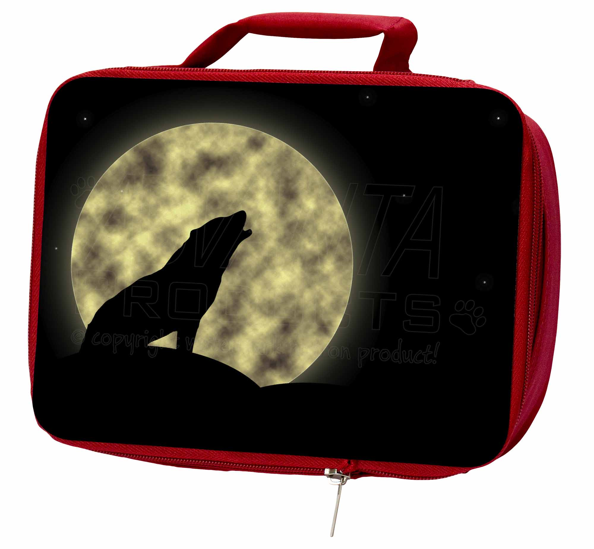 Howling Wolf and Moon Insulated Red School Lunch Box//Picnic Bag AW-7LBR