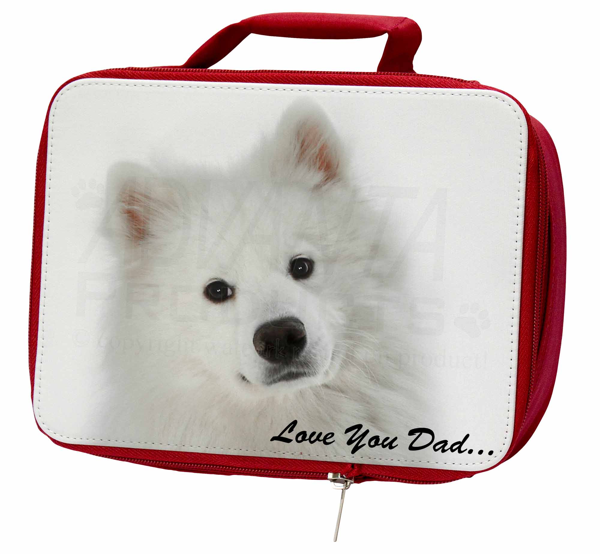 Samoyed 'Love You Dad' Sentiment Insulated Red School Lunch Box/Picn, DAD-116LBR