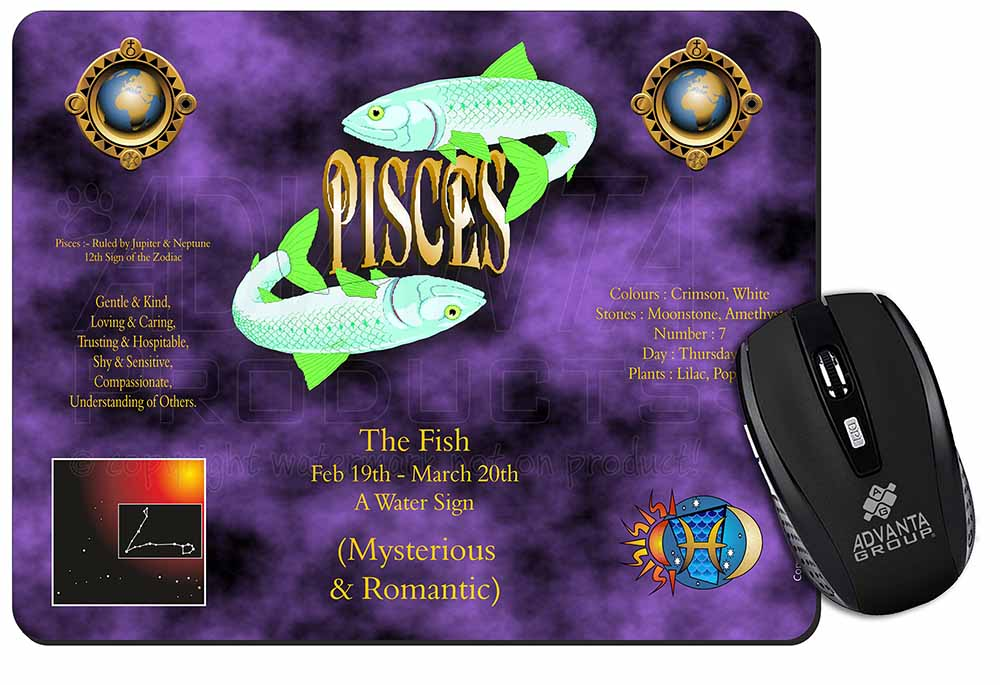 Promotional Pisces Star Sign Birthday Gift Computer Mouse Mat Idea ID13819