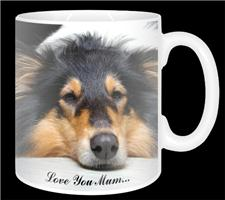 "Tri-Colour Rough Collie ""love you mum..."" 11oz Ceramic Mug Gift"