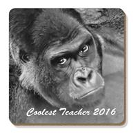 "Gorilla  ""Coolest Teacher 2016"" Sentiment  Single 90cm leather Coaster"