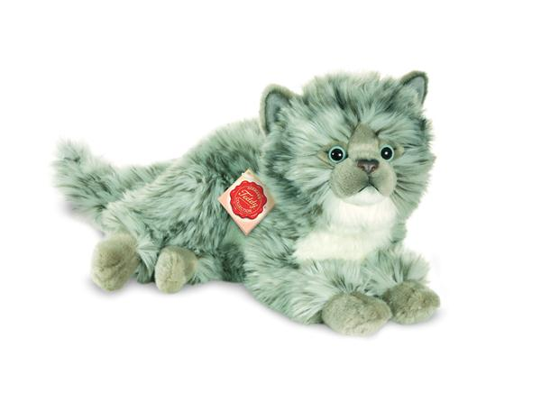 teddy hermann large silver grey fluffy cat soft plush toy