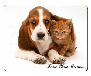 Basset Hound Dog and Cat Mum Sentiment, AD-BH1lym