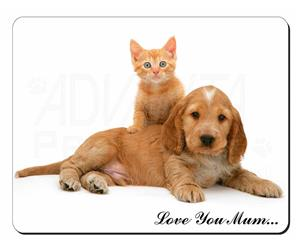Cocker Spaniel and Kitten Love Mum Sentiment, AD-SC14lym