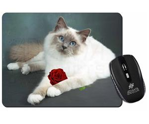 Birman Cat with Red Rose, AC-85R
