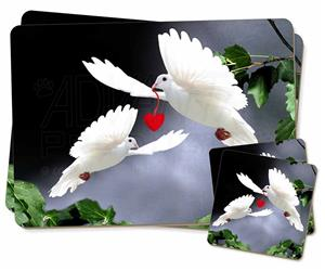 Two White Doves with Red Love Heart AB-D6