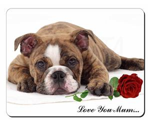 Bulldog Pup with Rose