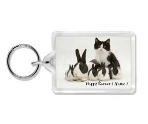 Personalised Easter Rabbits+Cat, AR-6PEA