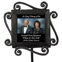 Personalised Wrought Iron Grave Side Memory Stake Photo Frame Keepsake