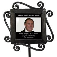 Personalized Photo+Text Wrought Iron Stake Grave Memorial-12
