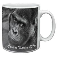 "Gorilla  ""Coolest Teacher 2016"" Sentiment 11oz Ceramic Mug Gift"