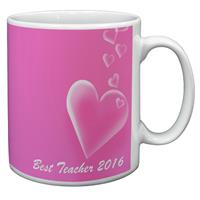 "Pink Hearts ""Best Teacher 2016"" Sentiment 11oz Ceramic Mug Gift"