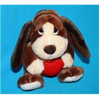 "Baxter Dog 10"" with a Red Velvet Heart Valentine Love Gift 39304"