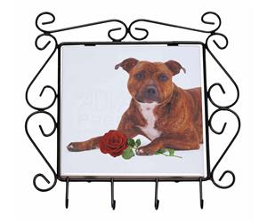 Staffie with Red Rose