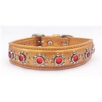 "Gold Leather Cat, Puppy, Small Dog Collar Red Jewels Fits Neck 7.5""-8.5"""