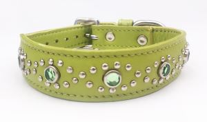 Small Green Leather Cat or Puppy Dog Collar With Jewels, Fits Neck 9-10.5""