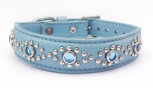 "Baby Blue Leather+Jewels Dog/Cat Collar Neck Size 11""-1"