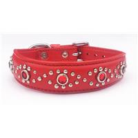 "Red Leather+Gem Stone Dog/Cat Collar Neck:7""-8.5"" Pet G"