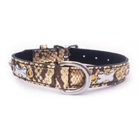 "Gold Snake-Skin Leather+Jewels Dog Collar Neck:14""-17"""