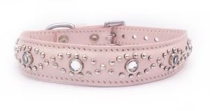Small Baby Pink Leather Almond Shape Jewelled Pet Collar