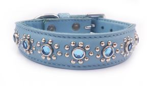 "Small Blue Leather Dog/Cat Collar, Jewels, Studs, Fits Neck 9""-10"""