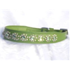 "Small Green Leather Jewelled Cat or Puppy Dog Collar, Fits Neck: 7.5""-8.5"""