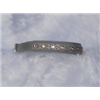 "Small Grey Leather Jewelled Cat or Puppy Dog Collar, Fits Neck: 7.5""-8.5"""