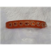 "Small Burnt Orange Cat or Puppy Dog Leather Jewelled Collar 7.5""-8.5"""