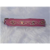 "Small Pink Leather Jewelled Cat or Puppy Dog Pet Collar 7.5""-8.5"""