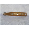 "Small Metallic Old Gold Leather Jewelled Cat or Dog Collar 7.5""-8.5"""