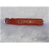 Small Orange Leather Jewelled Cat or Dog Collar, Fits Neck 9-10.5""