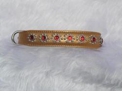 Small Metallic Old Gold Puppy Dog Collar With Red Jewel Flower Fits Neck 9-10.5""
