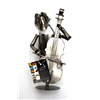 Metal Double Bass Player Wine Bottle Holder 9102C