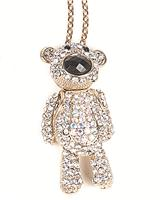 Long Chain Gold and Diamante Necklace Teddy Bear Necklace M1073