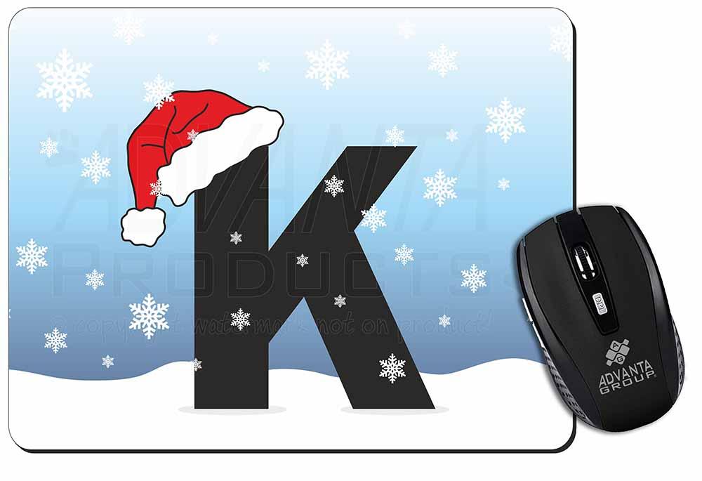 """Lettera """"k"""" Indossa Un Cappello Da Babbo Natale Computer Tappetino Mouse Idea Regalo Di Natale, A-11m- Regalo Ideale Per Tutte Le Occasioni"""