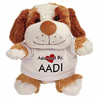 Adopted By AADI Cuddly Dog Teddy Bear Wearing a Printed Named T-Shirt