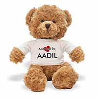 Adopted By AADIL Teddy Bear Wearing a Personalised Name T-Shirt