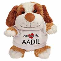 Adopted By AADIL Cuddly Dog Teddy Bear Wearing a Printed Named T-Shirt