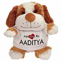 Adopted By AADITYA Cuddly Dog Teddy Bear Wearing a Printed Named T-Shirt
