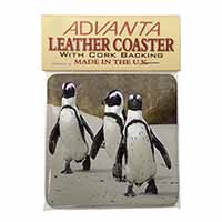 Penguins on Sandy Beach Single Leather Photo Coaster Perfect Gift