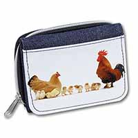 Hen, Chicks and Cockerel Girls/Ladies Denim Purse Wallet Birthday Gift Idea