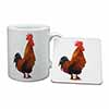 Morning Call Cockerel Mug+Coaster Christmas/Birthday Gift Idea
