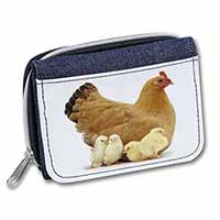 Hen with Baby Chicks Girls/Ladies Denim Purse Wallet Birthday Gift Idea
