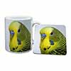 Yellow Budgerigar, Budgie Mug+Coaster Christmas/Birthday Gift Idea